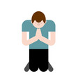 man is praying on his knees prayer to god vector image