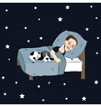 man sleeping in bed pillow together with puppies vector image vector image