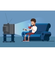 Man watches TV on sofa with coffee cup vector image vector image
