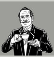 man with moustache drinking tea vintage vector image vector image