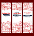 meat and sausage sketch banner set for food design vector image vector image