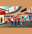 people shopping in a mall vector image vector image