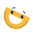 protractor flat icon smiling yellow cartoon vector image vector image