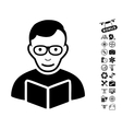 Reader Icon With Copter Tools Bonus vector image vector image
