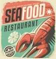 Retro seafood restaurant poster with lobster