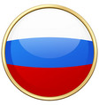 russia flag on round badge vector image vector image
