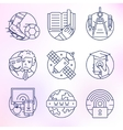 set icons in modern linear style vector image