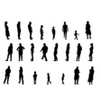 set of black and white silhouette walking people vector image vector image