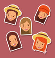 set of happy faces women avatar icons vector image vector image