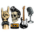 Set of rock and roll vector image