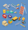 set of tools equipment and items isometri vector image