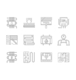 Set of underfloor heating flat line icons vector image