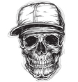 Sketchy Skull with Cap and Bandanna vector image