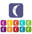smiling banana icons set flat vector image vector image