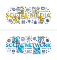 Social Media nad Social Network headings titles vector image