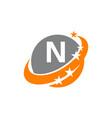 swoosh star solution letter n vector image vector image