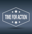 time for action hexagonal white vintage retro vector image vector image
