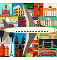 top-rated tourist attractions with plane vector image