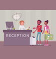 tourists at reception in a hotel vector image