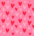 valentines day pink retro heart seamless pattern vector image vector image