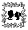 wedding silhouette with flourishes 5 vector image vector image