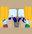 airplane crew character inside cabin pilot vector image