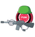army funfair coin character cartoon vector image vector image