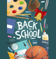 back to school banner with education supplies vector image