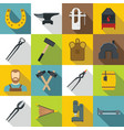 blacksmith icons set flat style vector image vector image