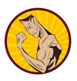Bodybuilder shows his biceps vector image