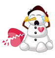 broken snowman on white background vector image vector image