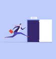 businessman run to open exit door emergency vector image