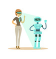 businesswoman controlling humanoid robot with vector image vector image