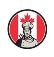 canadian chef baker canada flag icon vector image vector image