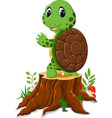 cartoon turtle posing on tree stump vector image vector image