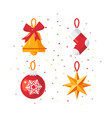 christmas decoration icons in flat style vector image