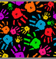 color set of hands on black background vector image vector image