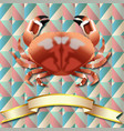 crab realistic background and gold ribbon vector image vector image