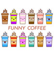 cup of coffee tea set cartoon cute mug with face vector image vector image