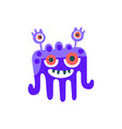 cute blue cartoon monster fabulous incredible vector image vector image