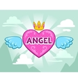 Cute girlish with angel heart vector image vector image