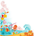 cute underwater animals frame vector image vector image