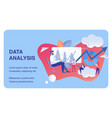 data analysis business flat banner template vector image vector image