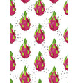 dragon fruit seamless pattern with seed on a vector image
