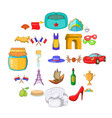 eurotrip icons set cartoon style vector image vector image