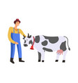 farm farmer with cow care for livestock isolated vector image