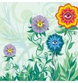 flowers eyes and grass vector image