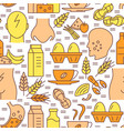 food allergy seamless pattern in colored line vector image