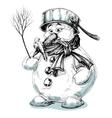 Funny cartoon snowman isolated drawing vector image vector image