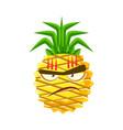 furious pineapple face cute cartoon emoji vector image vector image
